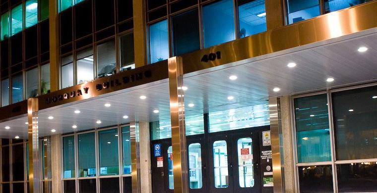 Norquay Building Plaza Entrance